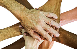 We must practice being united in Christ (Image: diverse hands)