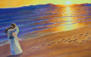 """Jesus Will Carry You (Image: Footprints in the Sand"""" by jtbarts.com)"""